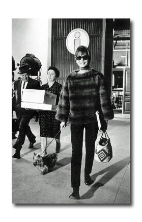 The Last Straw Audrey Hepburn wearing a mink pullover and carrying an embellished straw bag