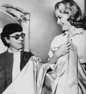 The beautiful Grace kelly on set with the talented Edith Head.